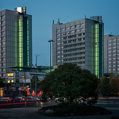 City Hotel Berlin East exterior at night time